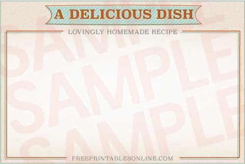 Retro Treated 4 x 6 Printed Recipe Card