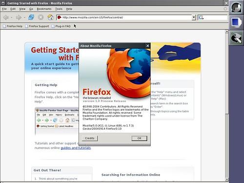 Firefox 1.0pr sous Linux Slackware 12.0