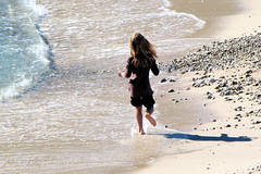 Running barefoot on the sand (koalie) Tags: beach girl sand mediterranean wave antibes
