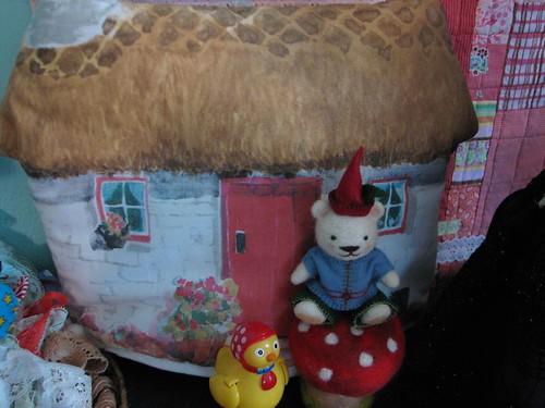 tea pot cover found thrifting makes a perfect gnome home