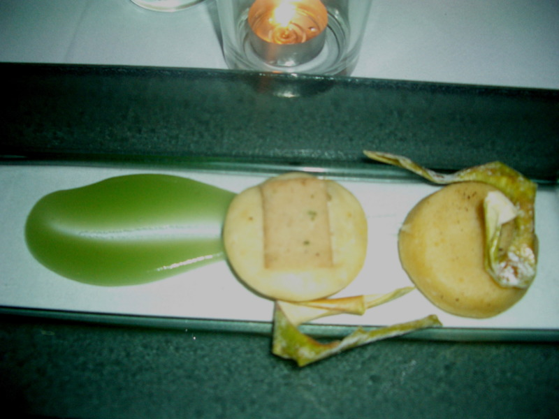 Rabbit and buttermilk pancake with green apple puree
