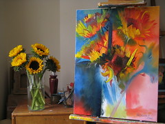 Sunflowers From Sarah 2007 by Stephen B Whatley (Stephen B Whatley) Tags: flowers light stilllife london art painting studio artist dynamic sunflowers sunflower expressionism vase brilliant oilpainting easel anawesomeshot spectacularelite stephenbwhatley