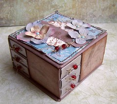 box (latarnia_morska) Tags: flowers blue red brown brad ink scrapbooking paper box handmade stamp drawer string bead hydrangea prima matchbox hemp eyelet
