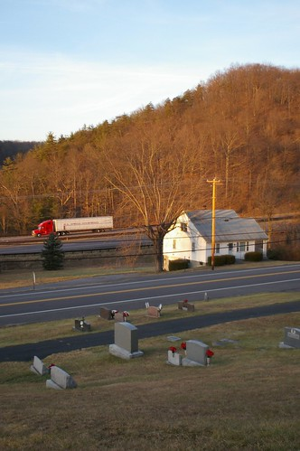 I-68 and the National Road, east of Cumberland, Maryland
