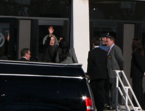 Hillary Clinton waves to folks outside Blake Arena. Photo by H Brandon