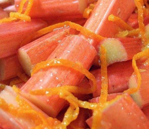 forced rhubarb and orange zest