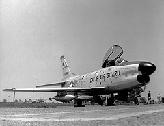 North American F-86L in the late 1950's (Lance & Cromwell back from Calif with PICs) Tags: old plane war aircraft military airplanes jet sabre planes ang f86 northamerican oldplanes warplanes f86l dogsabre californiaairnationalguard californiaairguard fighterinterceptorsquadron 194th
