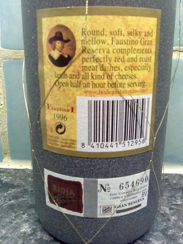 Faustino I Gran Reserva Rioja 1996 Back Label