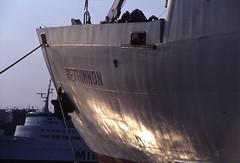 Ferry to Crete (Rob de Hero) Tags: analog port bug greek islands ship aegean kreta slide athens dia greece crete analogue greekislands hafen griechenland schiff piraeus athen rethimnon ägäis griechischeinseln