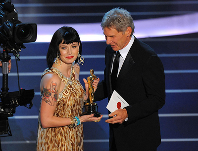 Writer Diablo Cody and actor Harrison Ford onstage during the 80