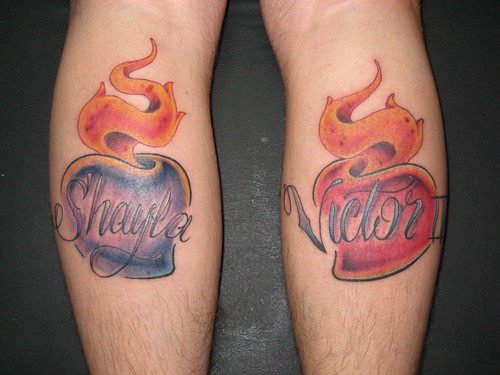 Sacred Heart with kids names Tattoo by Jon Poulson by Las Vegas Tattoos by