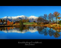 Remarkables Range (Peter Sundstrom) Tags: blue snow mountains reflection water pond letterbox reflexions range millbrook remarkables hdr arrowtown flickrsbest aplusphoto mwqio