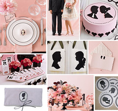 Cameo Pink and Black Wedding (Tastefully Entertaining) Tags: pink wedding party black silhouette cake bridalshower couple tags event gift cameo bouquet decor stationery favor placesetting entertaining pinkdress attire tastefullyentertaining