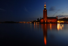 Stockholm City Hall (Globalviewfinder) Tags: longexposure trip travel summer vacation sun reflection water europe break sweden stockholm weekend slowexposure scandanavia nikond80 colourartaward backpackerholiday