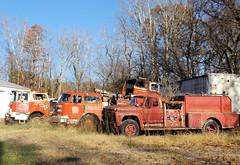 Fire Trucks (n1yln) Tags: peterstownwv monroecounty westvirginia firetrucks decay rust abandoned hillbillyfireapparatus