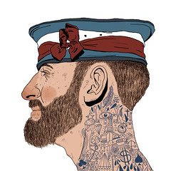 _ (pearpicker.) Tags: portrait hat tattoo illustration digital beard drawing sailor wacom pearpicker benerohlmann