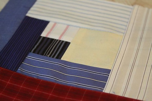 How to Make a Recycled Shirt Memory Quilt Square in a Very Cool Modified Log Cabin Diamond