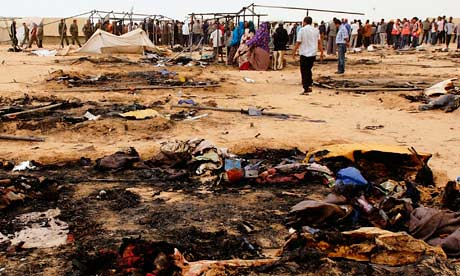 A refugee camp burned down in Tunisia that housed African migrant workers who have been forced to leave Libya due to the actions of counter-revolutionary rebels backed-up by the United States and NATO. Many refugees have been killed and injured. by Pan-African News Wire File Photos