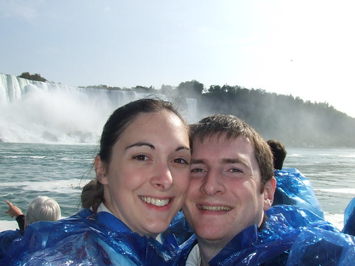 Tony and Suzy on the Maid of the Mist with the American Falls and Bridal Veil Falls behind them