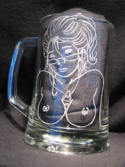 Beer mug with ipod girl