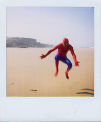 where did he come from? (czuczy) Tags: chris polaroid sx70 jumping spiderman surfing morocco superheroe bigfriday tamri ifyousurfinthisoutfityouwilldrown