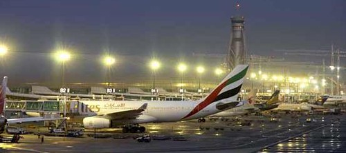 Dubai airport at night