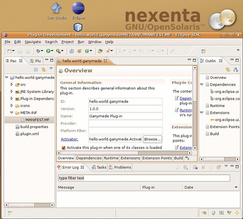 The Ganymede workbench on nexenta solaris-gtk-x86.