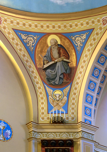 Saint Mary of the Barrens Roman Catholic Church, in Perryville, Missouri, USA - painting of Saint Luke