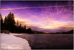 I'm Standing on Thin Ice (Extra Medium) Tags: trees sunset snow ice clouds evening pier scenery contrail surreal hdr frozenlake donnerlake 9exposures avision theyfirewalledflickroutofmyworksoiwillcommentonallyourstreamswhenigetbacktonight