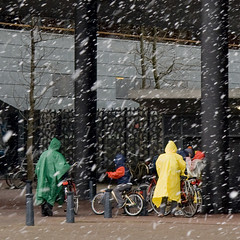Hiding for the snow (Bart van Dijk (...)) Tags: urban snow netherlands amsterdam square sneeuw nederland bicycles colourful zeeburg fietsen kleurrijk raincoats vierkant 500x500 bsquare regenjassen oostelijkeeilanden