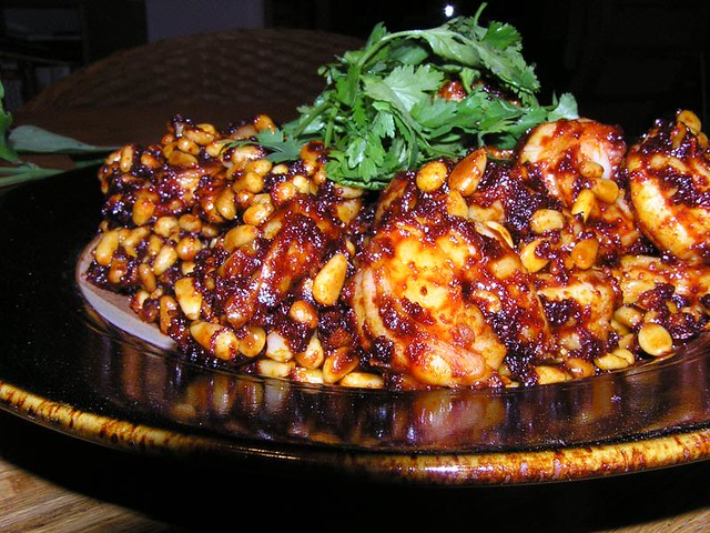 Shrimp with Red Chile and Pinon Nuts.