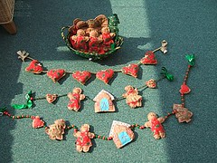 Christmas Swags and a Basketful of Gingerbread People.
