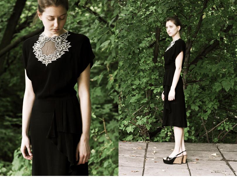 Черное коктейльное платье расшитое