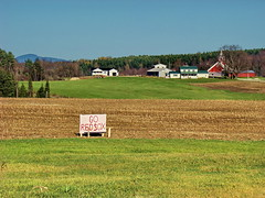 Vermonters are SO Happy!! (vtpeacenik) Tags: sign cornfield october vermont farm goredsox coolestphotographers anothermiracle