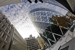 30 St. Mary Axe (cybertect) Tags: uk england building london architecture unitedkingdom normanfoster gherkin 30stmaryaxe cityoflondon fosterpartners canoneos5d ec3 canonef15mmf28fisheye londonec3 fisheyehemi