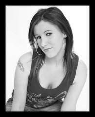 Gemma (Szmytke) Tags: portrait blackandwhite bw pose studio scotland flash gemma casual manual tatoo earing turriff