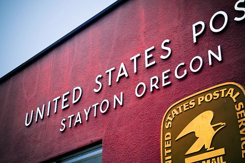 Just In Case I Forget Where I Live - a sign on the post office in Stayton Oregon