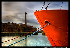 Docked - Liverpool (jerseyimage) Tags: greatbritain red england color colour tourism horizontal liverpool canon outside outdoors boat marine raw industrial day ship maritime bow daytime ropes nautical dslr albertdocks 400d abigfave jerseyimage multimegashot