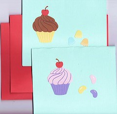 Set of 2 Cupcakes and Candy Cards with Matching Envelopes (Paper-Pixie) Tags: red cakes cup yellow cherry cupcakes drops beans aqua candy chocolate pastel spice sweets jelly textured cardstock ecrater