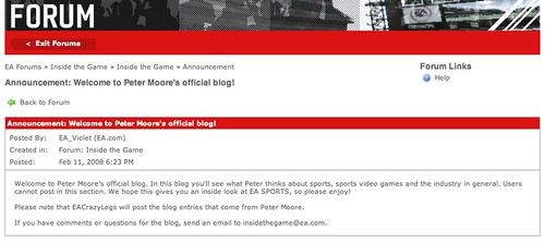 Peter Moore's Official Blog