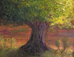 Acrylic Old Tree (tomt6788) Tags: old light motion tree art leaves painting landscape flow movement acrylic alone action drawing picture lonely solitary desolate mystic acryl ttdesign