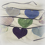 SECRET SANTA<p>Purple Hearts Banner/Bunting<p>of Upcycled Fabrics