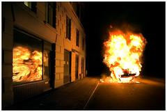 Burnight (Ibai Acevedo) Tags: street city red building car yellow night danger copenhagen fire noche calle rojo edificio explosion ciudad boom amarillo burn peligro coche 100 fuego quemar