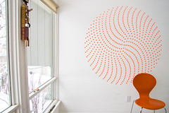 round one (yodraws) Tags: orange window wall spiral chair stickers explore installation inprogress artbymike codinglabels mathiscool