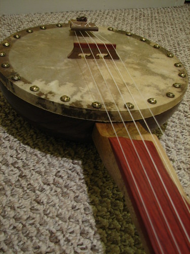 Salad Bowl Banjo #2 - blood wood fingerboard
