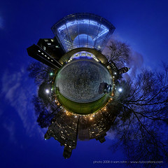 Planet New York :: Hayden Planetarum (Sam Rohn - 360° Photography) Tags: nyc newyorkcity blue sunset panorama architecture night interesting nikon purple dusk panoramic photograph sphere upperwestside polar nikkor amnh museumofnaturalhistory hdr hdri 360° rosecenter d300 stereographic planetoid locationscout ptgui 105mmf28gfisheye littleplanet nodalninja samrohn smallplanet stereographicprojection enfuse manhatatan planetnewyork nylocation haydenpanetarium lesamisdupetitprince