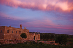 View over the old St:Maria church in Hah (Izla Kaya Bardavid) Tags: pink sunset summer sky color church nature clouds turkey photo spring ancient christian orthodox mesopotamia turabdin monestary assyrian syriac supershot southeastturkey nikonphoto