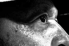 Big Pupil (Atlantian5) Tags: blackandwhite bw face concentration bandw concentrate largepupil