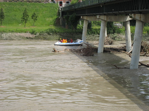 A hovercraft on a flooded river Po