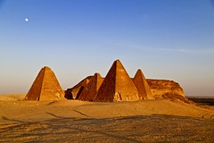The Royal Pyramids at Jebel Barkal (owilybug) Tags: jebelbarkal sudan sudanese nubian pyramids moon sunset pharaohs africa travel travelphotography canon canon5d wanderlust lonelyplanet lp